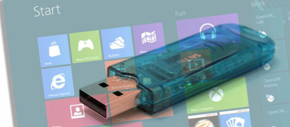 Å installere Windows 8 fra minneplugg kan gå vesentlig raskere enn fra DVD.  Foto: DinSide Data