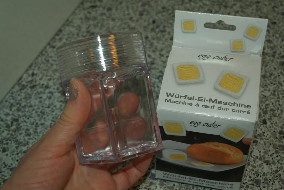 MORSOMT TRIKS: Med denne skal man kunne lage firkantige egg. Vi har testet om det funker i praksis. Foto: Berit B. Njarga