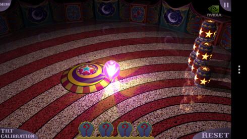 WOW: Nvidias eget skryteapp Glowball ser latterlig bra ut. Lyseffektene og fysikken er imponerende, og HTC One X er en skikkelig spillmobil.