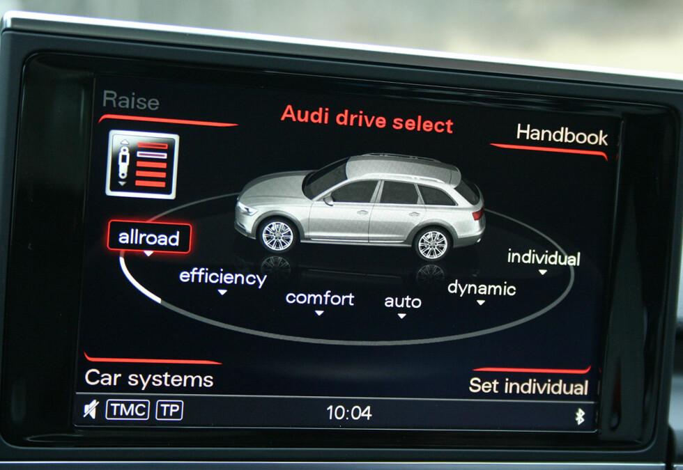 Drive select-systemet er nyttig og meget omfattende og skjermbildene er flotte - men betjeningen forekommer oss til tider noe plundrete. Foto: Knut Moberg