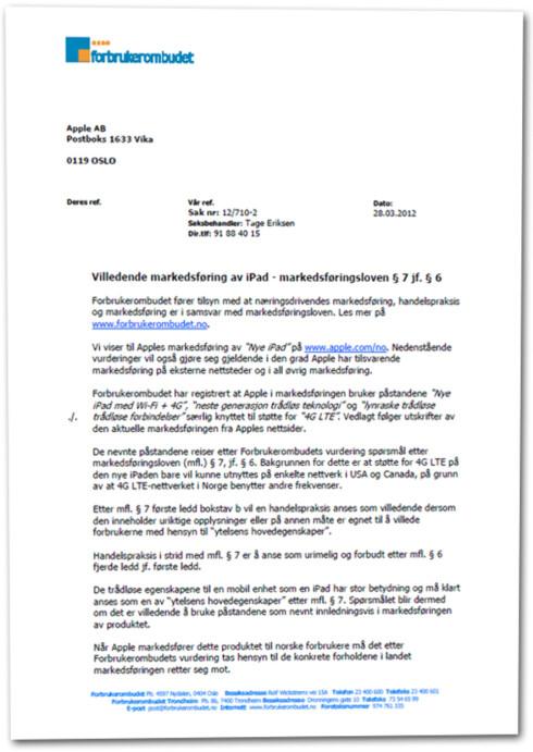KLARTEKST: I brevet krever Forbrukerombudet at Apple fjerner alle referanser til 4G.