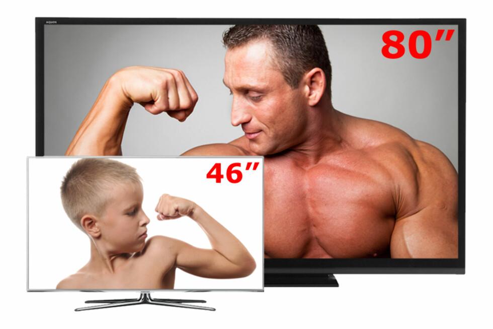 Forskjellen mellom folkestørrelsen 46-tommer og en 80-tommer er rett og slett enorm! Her er det bare å finne fram popcornet. Foto: Produsenten/Ole Petter Baugerød Stokke