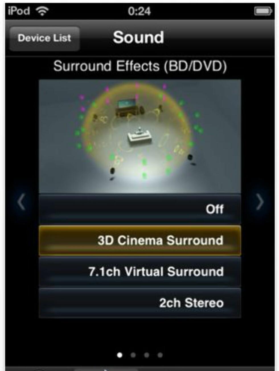 Animasjonene øverst gjør det enklere å forstå forskjellene i de ulike lyttemodusene. Foto: Produsent