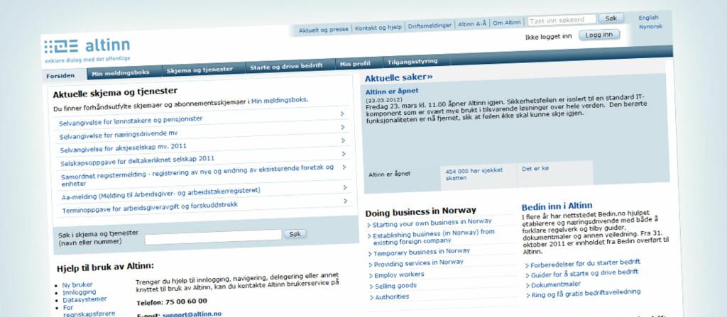 Feilen i Altinn er funnet og slettet, melder Skattedirektoratet. Foto: Altinn.no