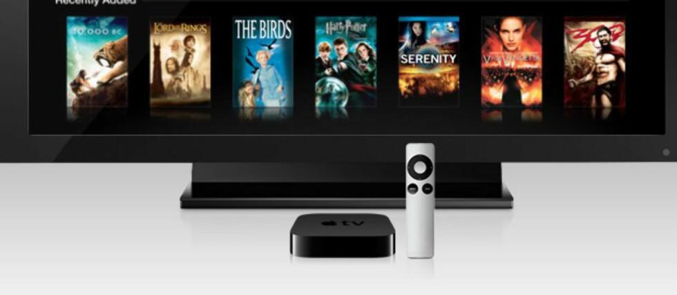 Apple TV er ingen TV, men en liten mediespiller for filmleie gjennom iTunes, trådløs overføring av bilder, lyd og video fra iPhone, med mer. Nå er tredje generasjon i butikkene, med støtte for full HD-oppløsning. Foto: Apple