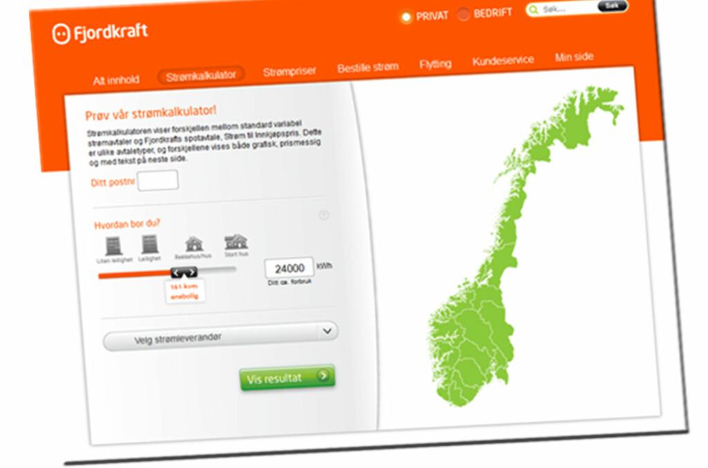 TO TYPER AVTALER: Strømkalkulatoren fra Fjordkraft skal være til hjelp for kundene, men vær obs på at den sammenlikner to forskjellige typer strømavtaler. Foto: Fjordkraft.no