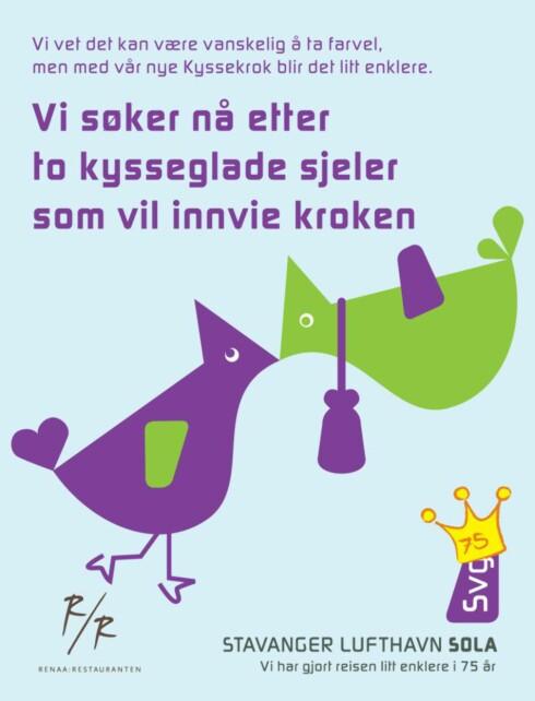 Flyplassen søker etter kysseglade. Foto: Stavanger Lufthavn Sola
