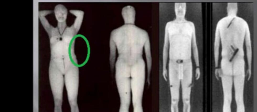 SORT BAKGRUNN: Når bakgrunnen er sort, er det vanskeligere å se om vedkommende bærer noe på siden.  Foto: YouTube