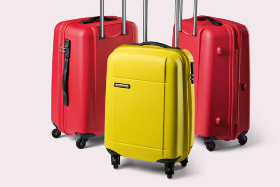 Disse koffertene har blitt utsatt for elefanttråkking og lastebiltreff, ifølge produsenten. Titanium DLX serien fra Carlton fås i en matt finish i både rødt, gult, svart eller sølv, og koster fra 1.195 kr til 3.890 kr.  Foto: Produsenten