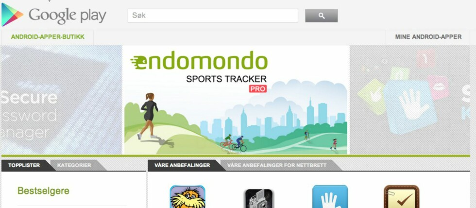 Slik ser den nettbaserte butikken ut allerede nå, med Google Play-branding.