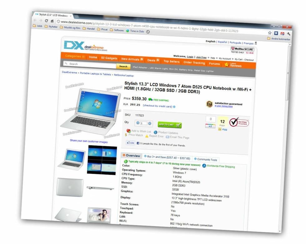 Hos Dealextreme ligger det en rekke bilder av PC-en. Foto: Skjermdump