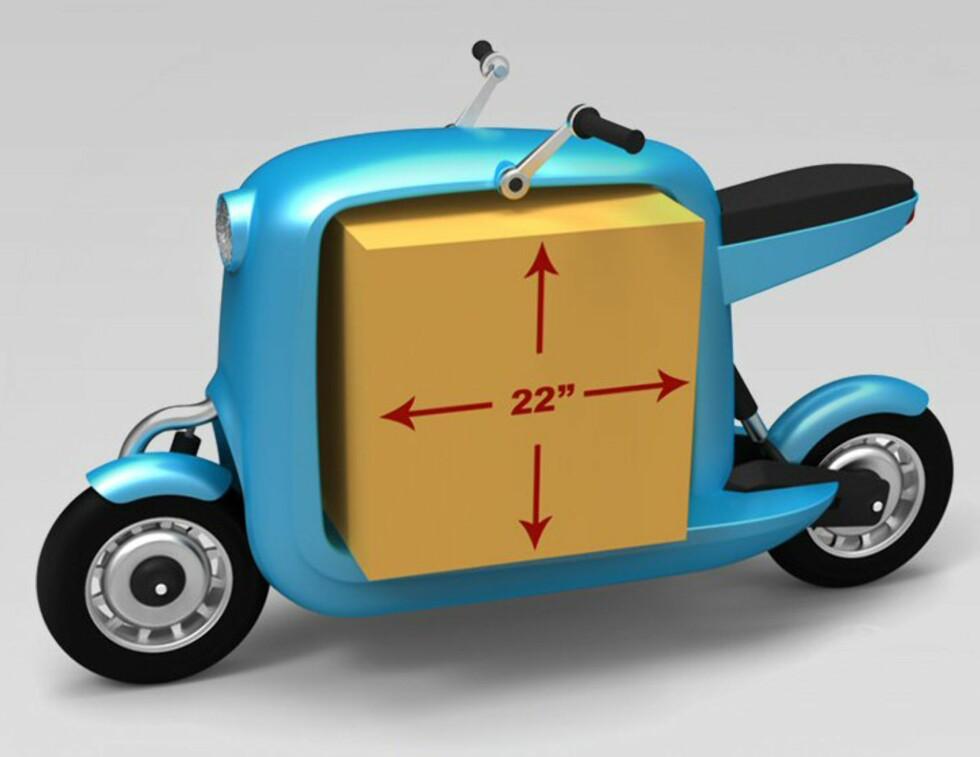 Lit Motors ser for seg å produsere denne elektriske varescooteren, også. Foto: Lit Motors