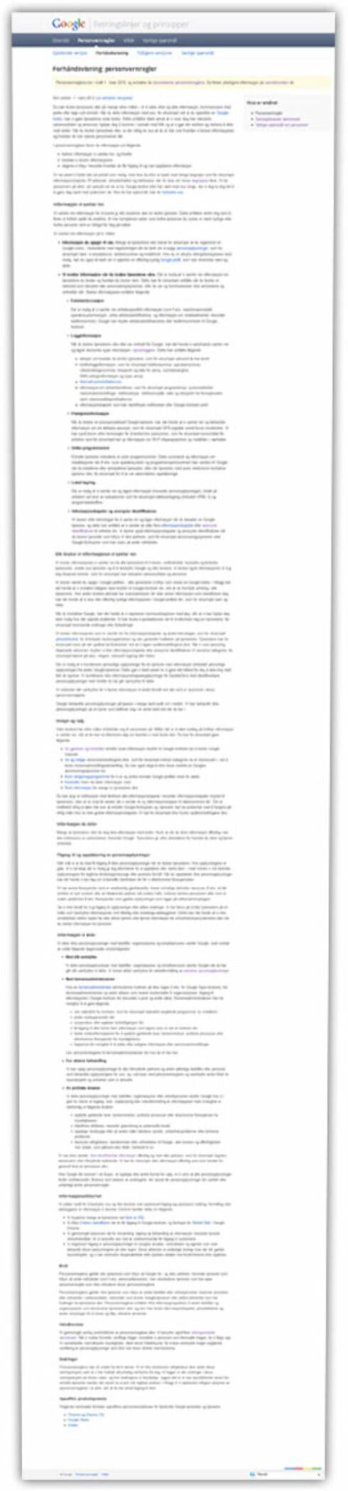 <strong>FYLDIG:</strong> Selv om Google nå trimmer retningslinjene sine, er det fortsatt nok å sette seg inn i. Dette er personvernreglene.  Foto: Ole Petter Baugerød Stokke