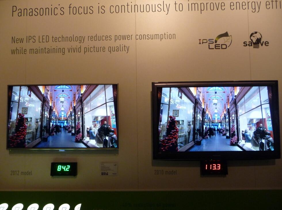 Strømforbruket har selvsagt gått ned, de fleste TV-ene har nå fått A+ merking. Legg også merke til hvor gammel TV-en til høyre ser ut. Foto: Øyvind P