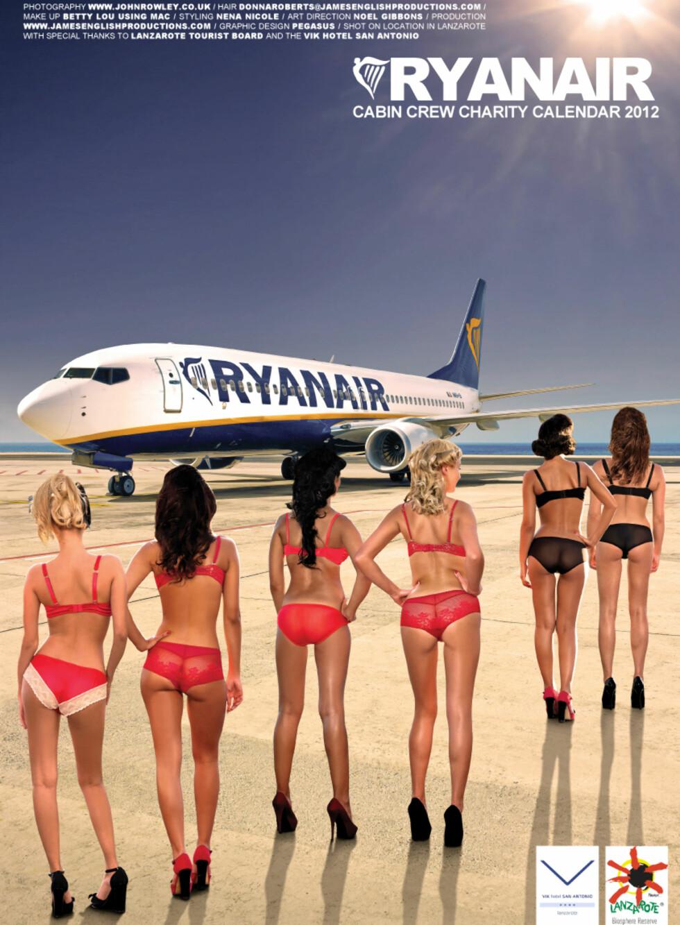 KABINMANNSKAPETS STORE DRØM? – Vi oppfordrer også kabinmannskapet til å passe vekten sin, og motiverer dem med at de kan bli avbildet i den årlige Ryanair-kalenderen, uttalte kommunikasjonsdirektør i Ryanair, Stephen McNamara.  Foto: DEBRA/Ryanair