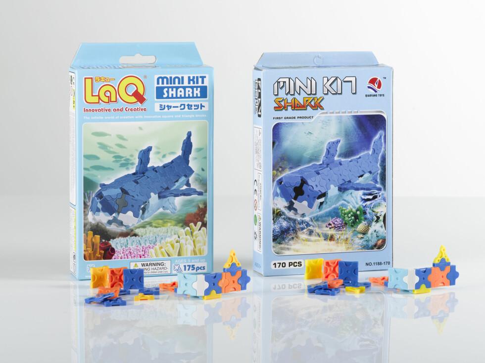 Den morsomme 3D-haien for barn er opprinnelig japansk (t.v.), men det har selvsagt dukket opp en kinesisk kopi. Foto: Plagiarus