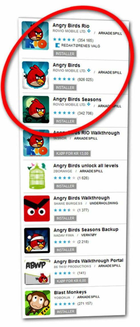 """MYE RART: Søker du etter Angry Birds på Android Market, får du opp alle disse treffene. Bare de tre første er ekte. Det ser du blant annet fordi utvikleren heter """"Rovio Mobile Ltd."""".  Foto: Ole Petter Baugerød Stokk"""