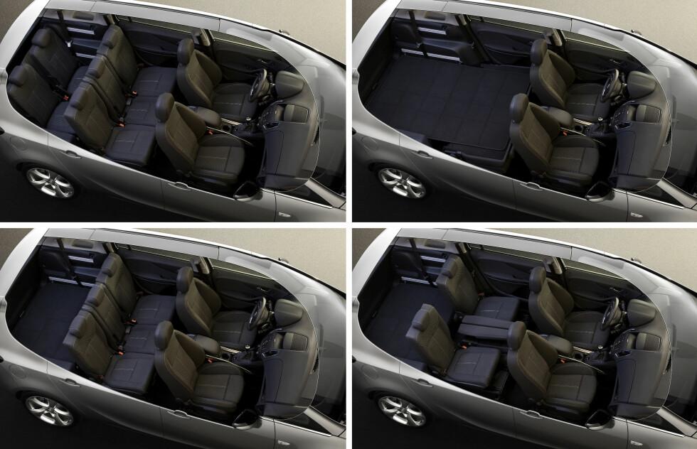 Opel Zafira Tourer er romslig, praktisk og fleksibel med mange smarte interiørløsninger.
