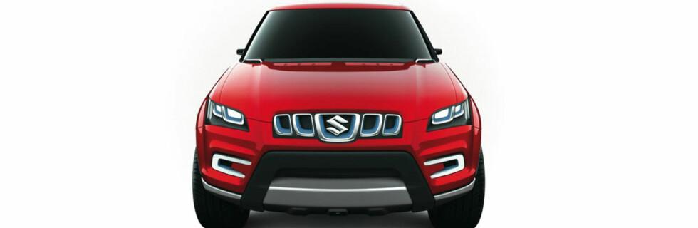 """Det er dårlig bildemateriale vi har fått tilgang til fra Suzuki Maruti, men vi får da se hvordan XA Alpha ser ut. Unektelig ganske """"tøff i trynet""""... Foto: Suzuki"""