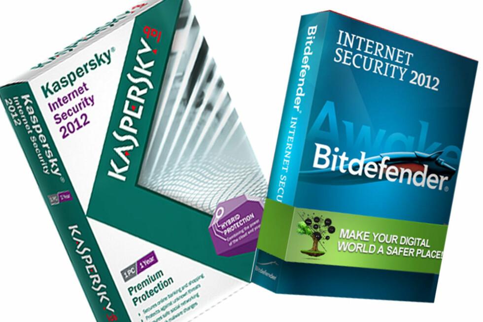 GIR GOD BESKYTTELSE: Kaspersky Internet Security 2012 gjør det best i den uavhengige testen av 23 antivirusprogrammer, med Bitdefender like etter.  Foto: Produsentene