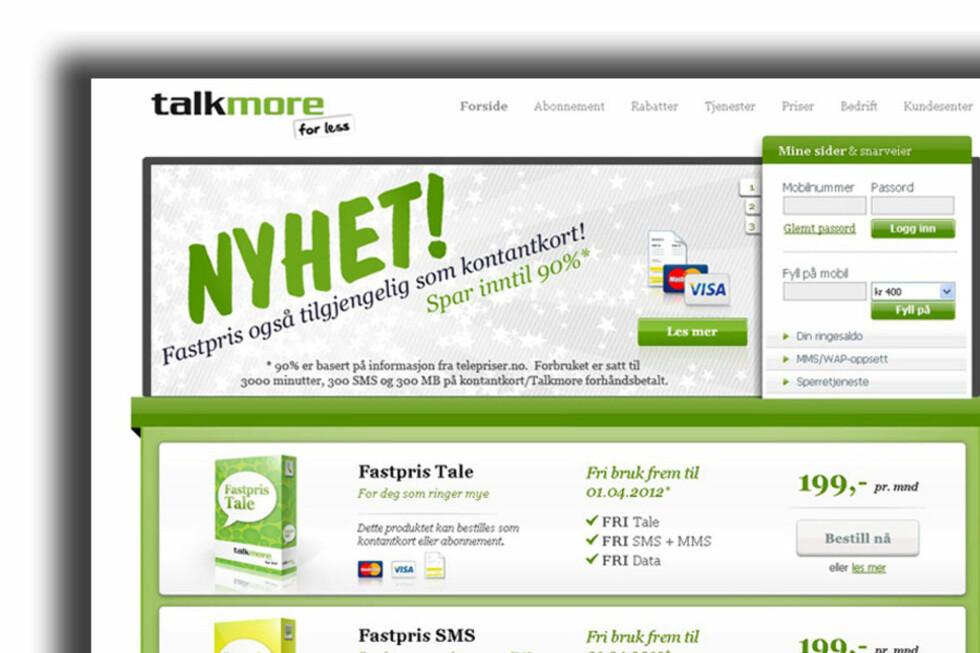 TATT PÅ SENGEN: Ingen mobiloperatører DinSide har vært i kontakt med, kan matche tilbudet fra Talkmore. Foto: Talkmore.no