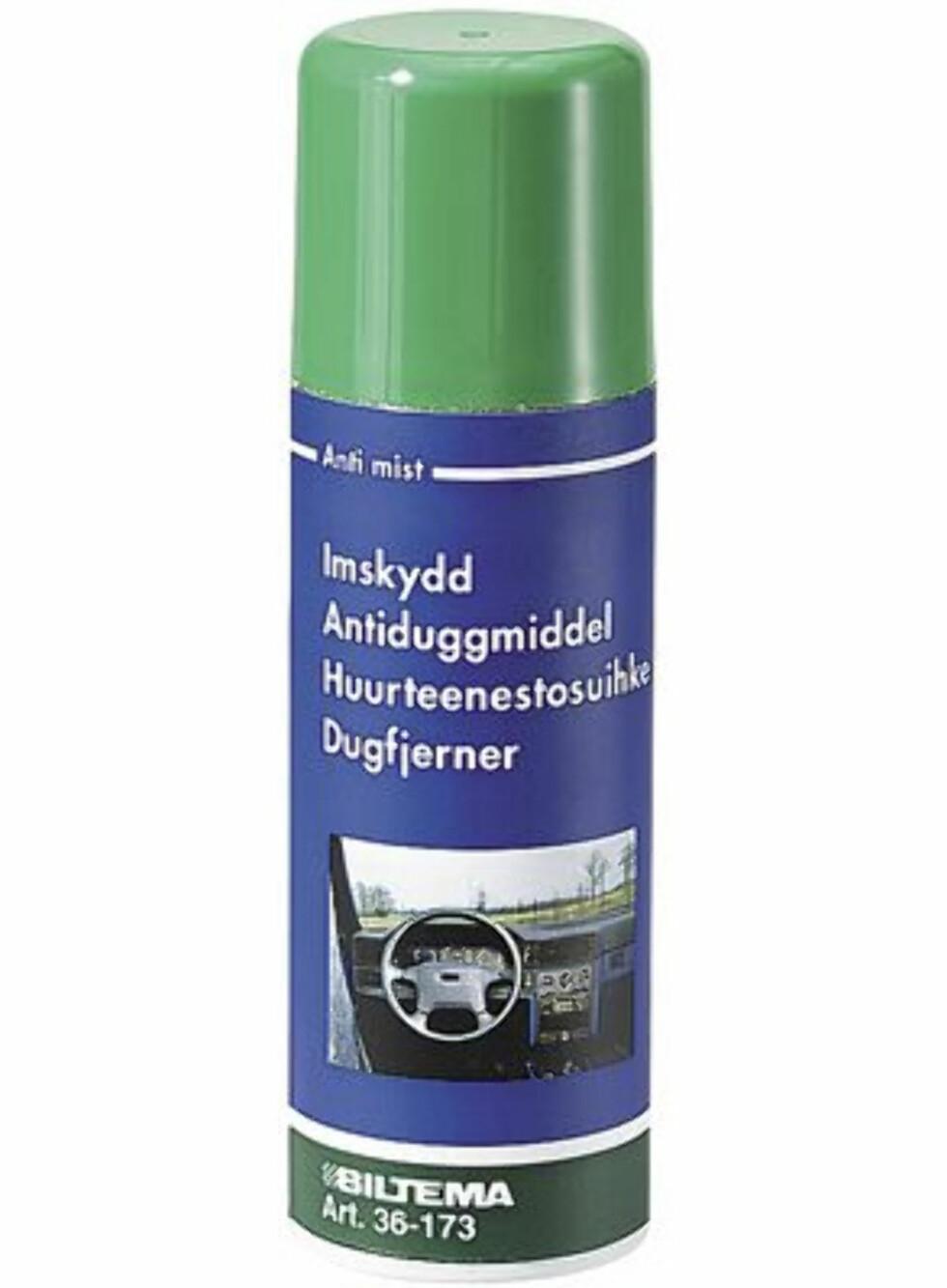 Antiduggmiddelet fra Biltema blir anbefalt på en rekke forum som en god løsning, også på badet. Pris: 49,90 kroner. Foto: Biltema.no