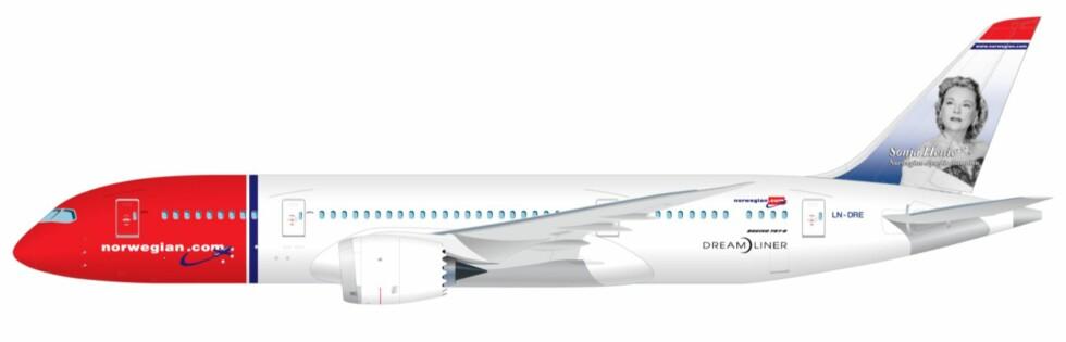 DRØMMER'N:  Slik ser Norwegians kommende Dreamliner ut. Det blir altså en Dreamliner med Sonja Henie på halen. Foto: Norwegian