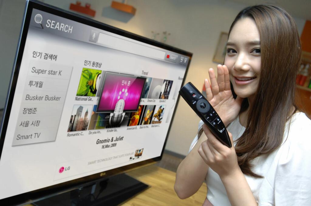 LGs Magic Remote. Her får du et par fysiske knapper, men musehjulet i midten vitner om noe nytt. Foto: Produktbilder LG