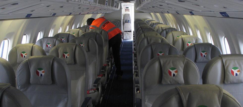 NYE INNENLANDSRUTER: Slik ser det ut ombord DATs ATR 72-202, som skal trafikkere strekningen Rygge-Bergen. Det er plass til 66 passasjerer ombord. Foto: Kristin Sørdal