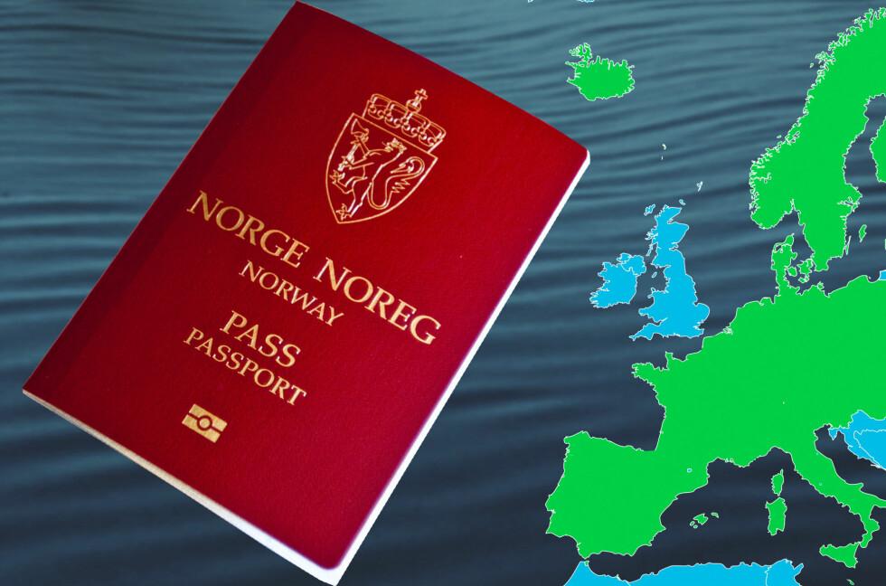 ANBEFALER PASS: Selv om Scengen-samarbeidet i utgangspunktet gir passfrihet, bør du alltid ha med pass utenfor Schengen. Foto: Per Ervland/Wikimedia