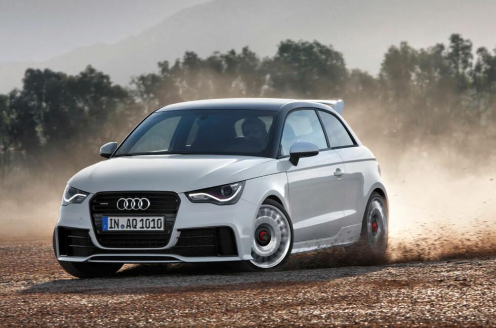 Det ble ikke S1 - men her er i hvertfall Audi A1 quattro, en liten kraftkar med sine 256 hester og forrykende akselerasjonsevner. Foto: Audi