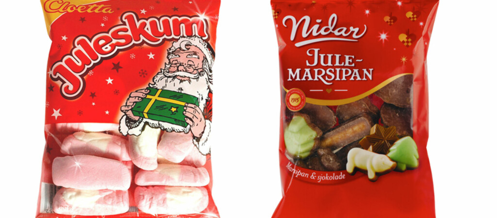 Julemarsipanen fra Nidar danker som regel ut Cloettas juleskum på salgslistene, selv om sistnevnte også selges i bøtter og spann før jul. Foto: Nidar/Cloetta