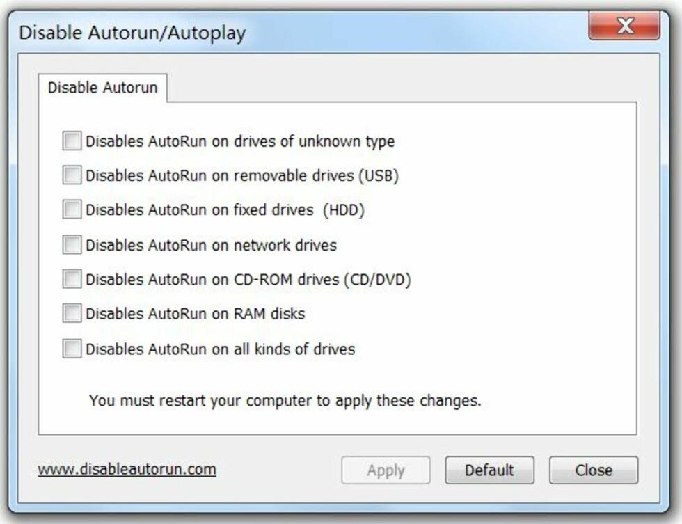 Skru av Autokjør, og gjør Windows sikrere