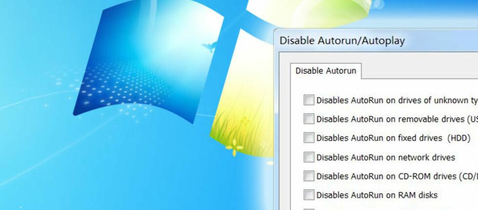 Ved å deaktivere Autokjør-funksjonen, unngår du at ting installeres uten din viten og vilje hver gang du setter inn en minneplugg, CD eller lignende.