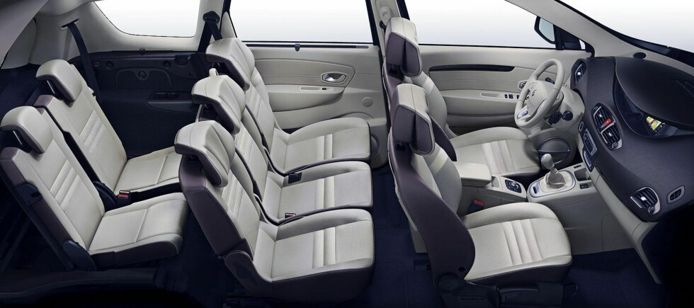 Interiøret i Renault Grand Scénic: Praktisk, romslig og fleksibelt. Foto: Renault