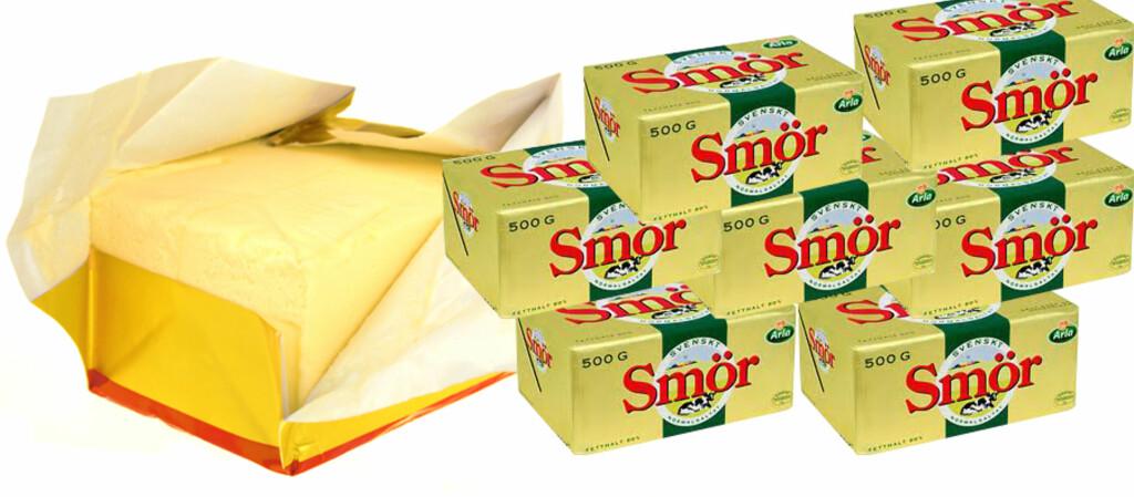 <b>PASS KVOTENE:</b> Det er ikke egne smør-kvoter, men du må holde deg innenfor verdigrensene. 500 gram svensk smør koster 32,90 svenske kroner på MaxiMat på Nordby, det betyr at du kan ha med deg 107 pakker smør. Foto: Colourbox/Arla