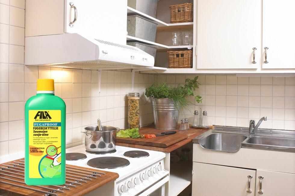 SMART: Fila Fugaproof impregnering for fugene gjør at flekkene ikke trekker inn i fugemassen, og det blir langt enklere å holde kjøkkenet rent og pent.