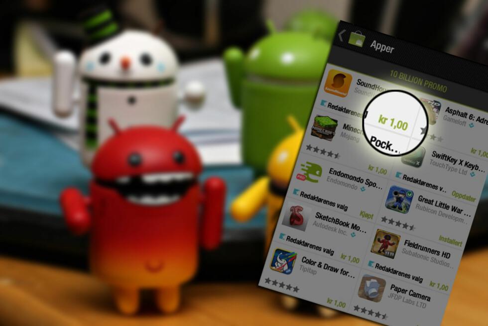 Hver dag i 10 dager tilbys 10 nye apps til én krone stykket. (Foto: Little android figurines av Family O'abé, CC-BY)