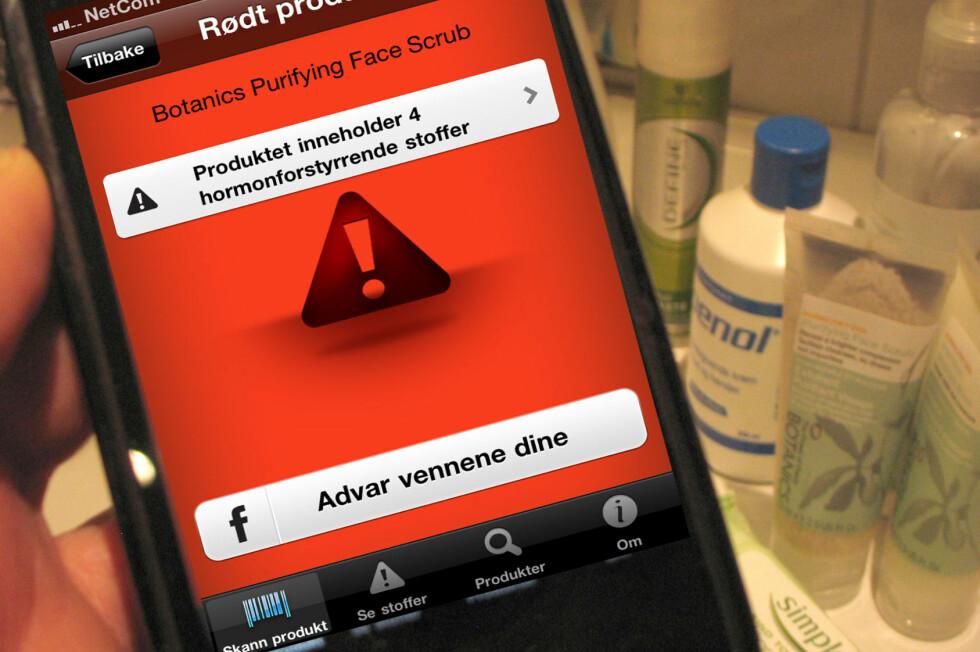 75.000 nordmenn har så langt lastet ned appen som forteller deg om produktene du har på badet inneholder hormonforstyrrende stoffer. Foto: Kristin Sørdal