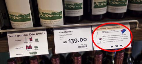 Vinmerking på taxfree-butikken