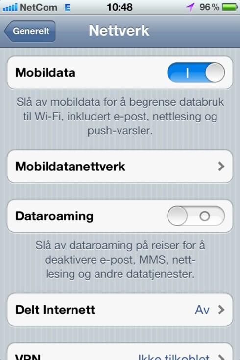 """SLÅ AV: Skal du til utlandet og vil være sikker på at du ikke bruker mobildata, bør du skru av """"dataroaming"""". Dette betyr å bruke andre operatørers nettverk til å surfe, i praksis: Å surfe i utlandet. Foto: Øyvind Paulsen"""
