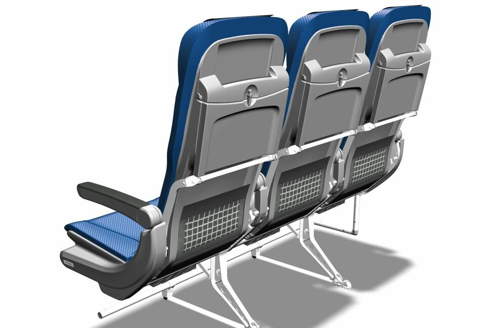 SE SÅ SLANKE: Flypassasjerene får 5,2 centimeter bedre beinplass til neste år. Foto: SAS