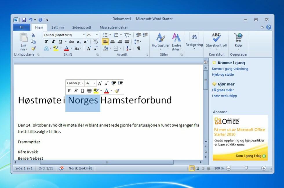 Office 2010 Starter gir deg en smak av hva Office-suiten fra Microsoft har å by på. Kolonnen til høyre inneholder reklame, for øvrig kan programmene Word og Excel brukes uten tidsbegrensning.