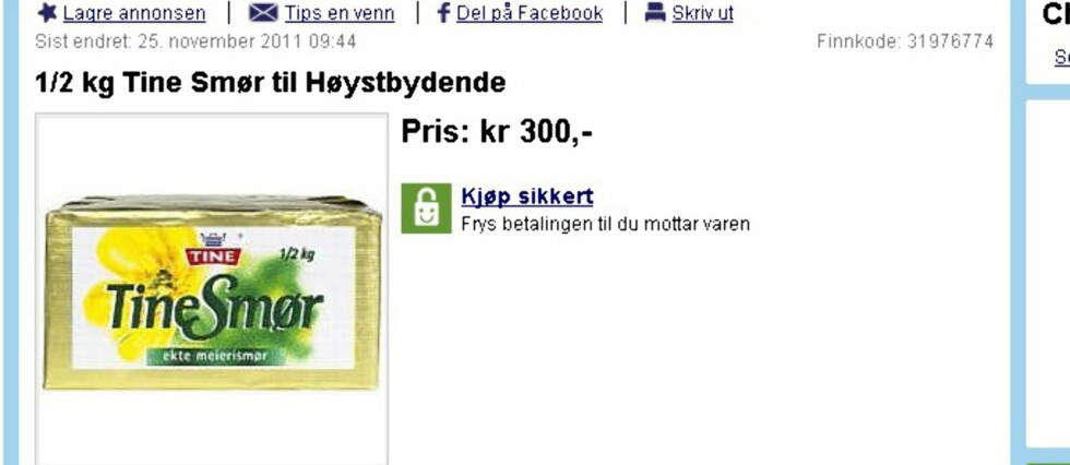 Smørkrisen gjør at noen forsøker seg med salg på Finn.no. Foto: Finn.no