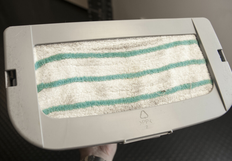 Med teppeglideren kan du bruke moppen på tepper. Foto: Per Ervland