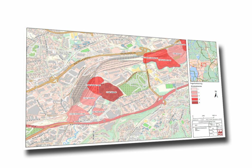 Ett område i hovedstaden, det røde, skraverte feltet, er i risikoklasse 5, med høyeste faregrad; 1790 Alfaset. Foto: NVEs rapport