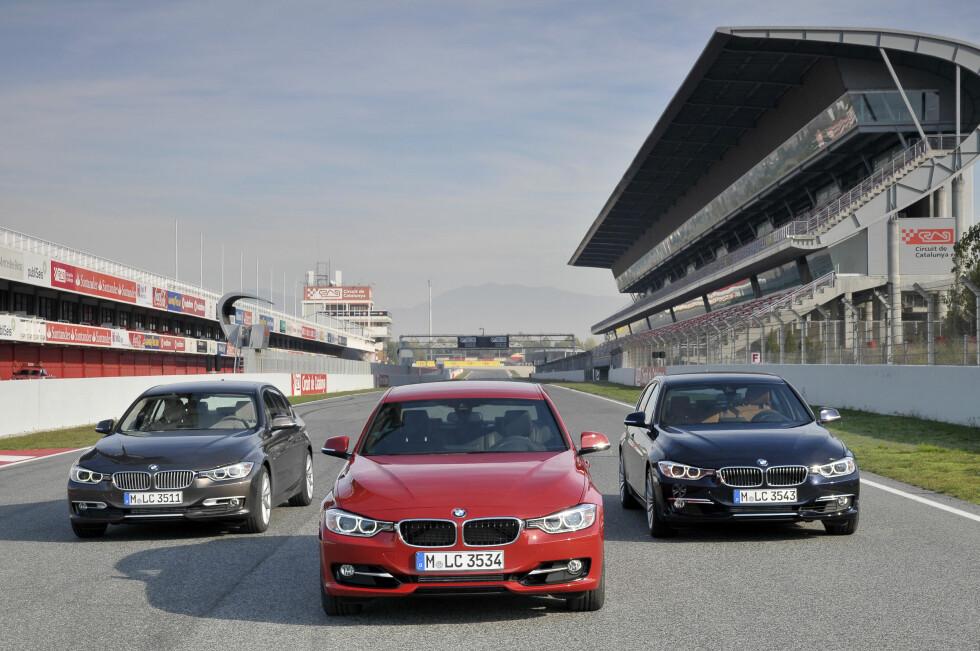 Nye BMW 3-serie blir for første gang levert i tre forskjellige stil-varianter: Fra venstre ser vi Modern, Sport og Luxury. Vi prøverkjørte en 320d Modern og en 328i Sport.