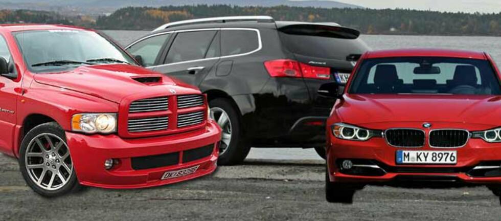 Tre av tolv: Dodge Ram, Honda Accord og BMW 3-serie står alle på listen over de mest innbringende bilmodellene siste 21 år. Foto: Produsentene/DinSide