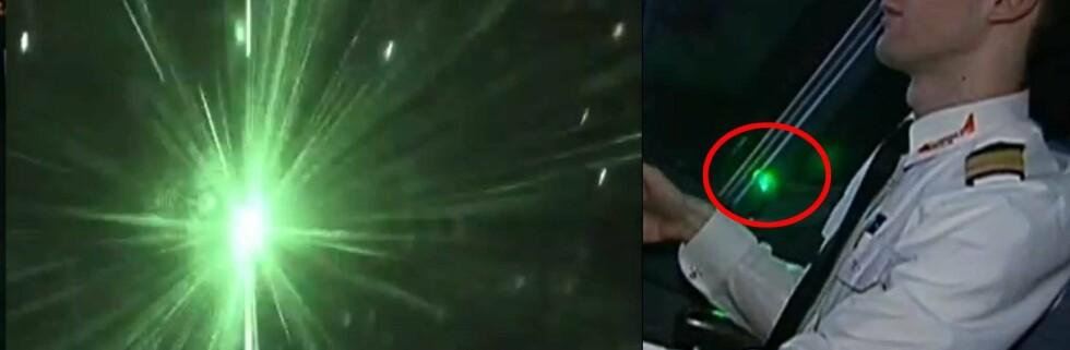 PÅ FILM: Russia Today publiserte i sommer en film på YouTube som viser laserblending av piloter. Foto: Montasje