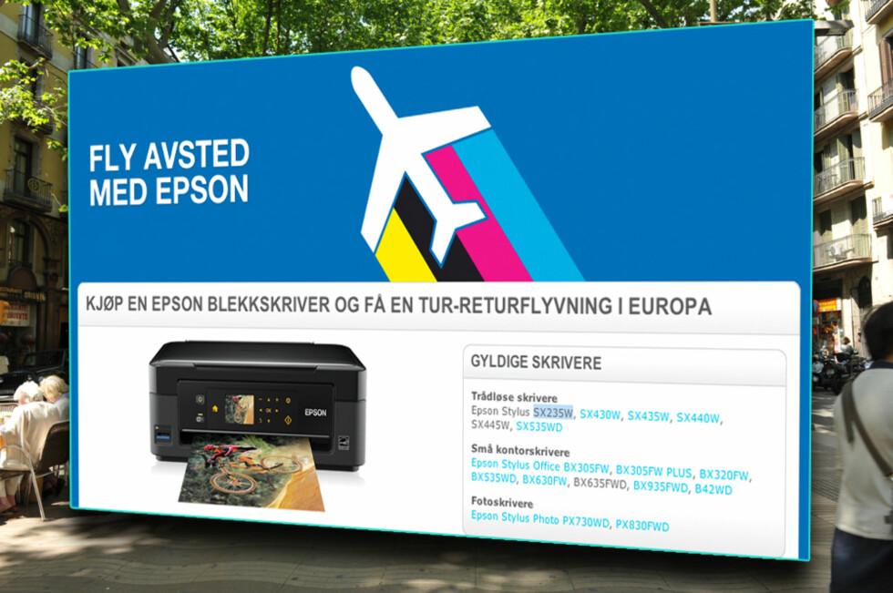 """KJØP EN PRINTER - FLY TIL BARCELONA GRATIS: Epson sender deg ut i Europa hvis du kjøper én av de seksten """"gyldige"""" skriverne. Men husk å lese betingelsene nøye, tilbudet er ikke så rett fram som du kanskje tror. Foto: Faksimile / Colourbox"""